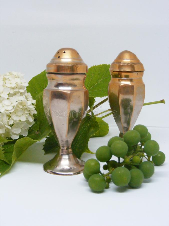 Vertical photo of silver fashioned brushed steel salt and pepper shakers royalty free stock photos