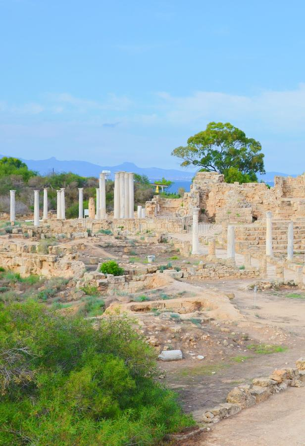 Vertical photography of famous ruins of ancient city Salamis. Salamis was a Greek city-state located near Famagusta. Turkish Northern Cyprus. The Corinthian royalty free stock image