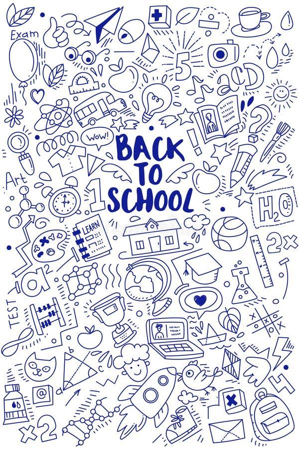 Vertical plecy szkoła doodles plakat royalty ilustracja