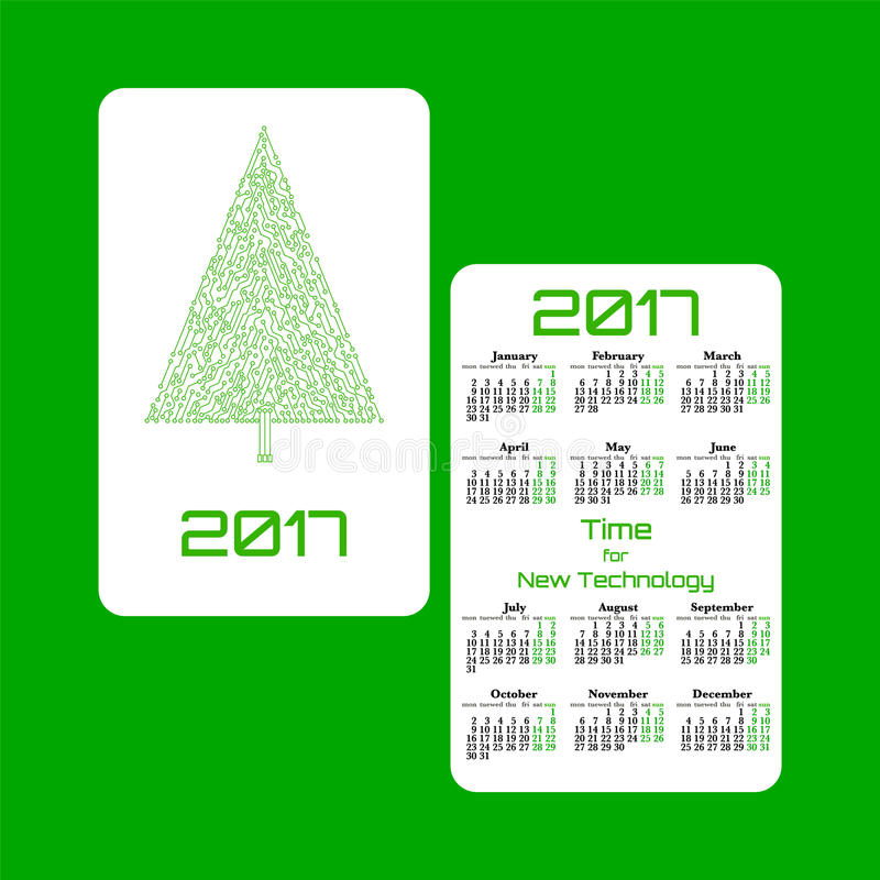 Vertical pocket calendar for 2017 year. Week starts Monday. Double-sided calendar for 2017 year. Yearly calendar template with text 2017, Christmas tree and vector illustration