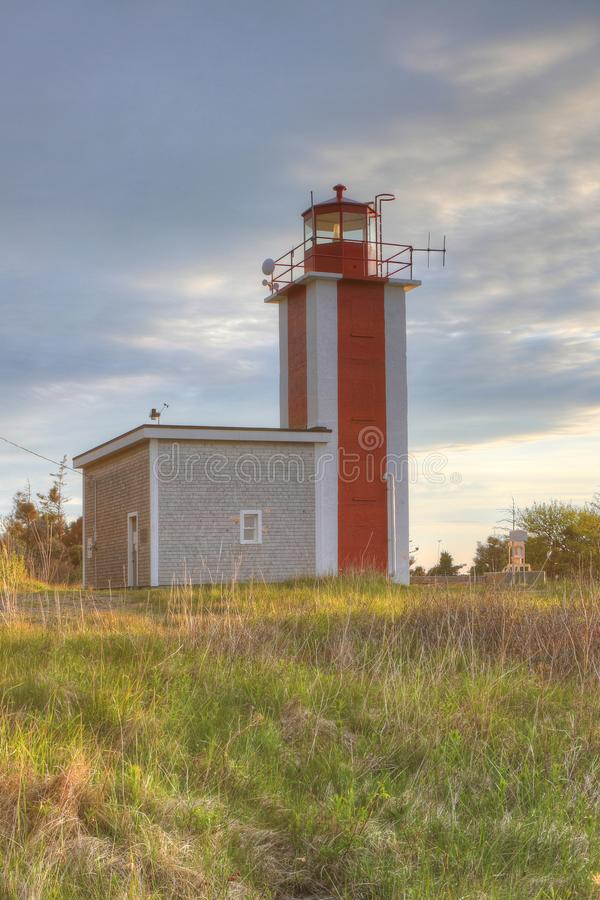 Vertical of Point Prim Lighthouse near Digby, Nova Scotia stock images