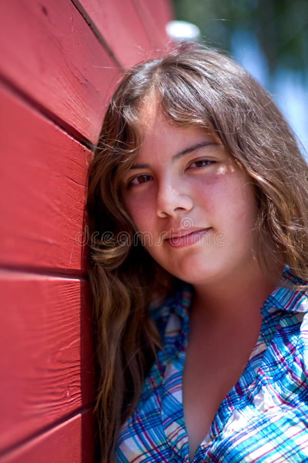 Vertical Portrait Of Pretty 14 Year Old Girl Stock Photo