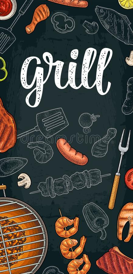 Vertical poster with bbq. Grill menu calligraphic handwriting lettering. Template restaurant or cafe bbq menu. Grill calligraphic handwriting lettering. Shrimp vector illustration