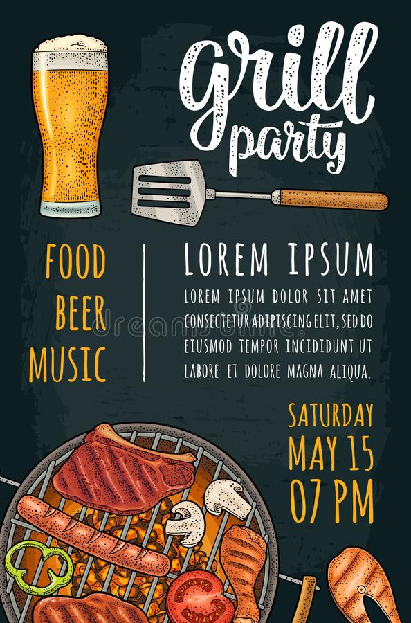 Vertical poster with bbq. Grill party calligraphic handwriting lettering. Template bbq vertical poster. Grill party calligraphic handwriting lettering. Tomato vector illustration