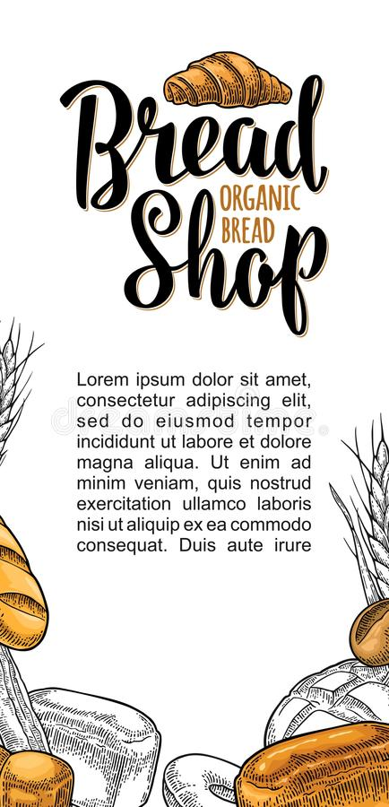 Vertical poster with bread. Vector color hand drawn vintage engraving stock illustration