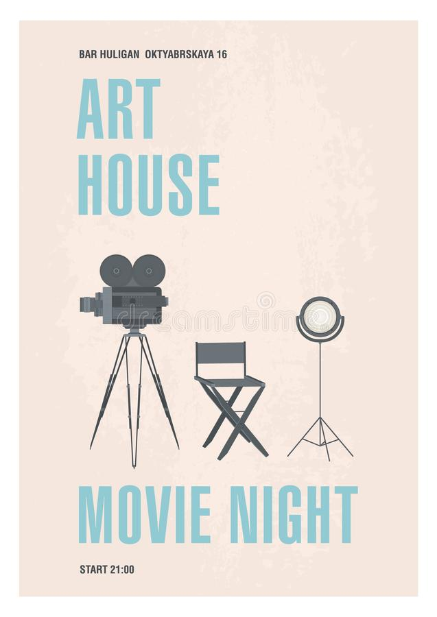 Vertical poster or flyer template for art film night, premiere or cinema festival with retro camera, movie director`s. Chair and spot light. Colored modern vector illustration