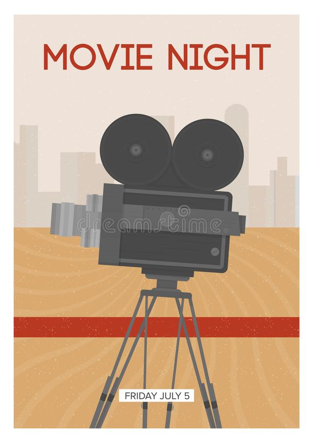 Vertical poster, placard, flyer or invitation template for movie night or motion picture premiere with retro film camera. Or projector standing on tripod stock illustration