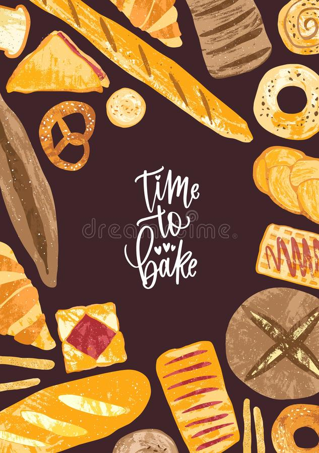 Vertical poster template with frame made of delicious breads, delicious baked products and sweet pastry of various types. And Time to Bake phrase. Vector stock illustration