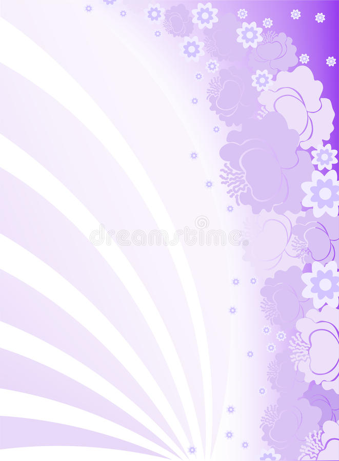Vertical purple background. With flowers and arcs stock illustration