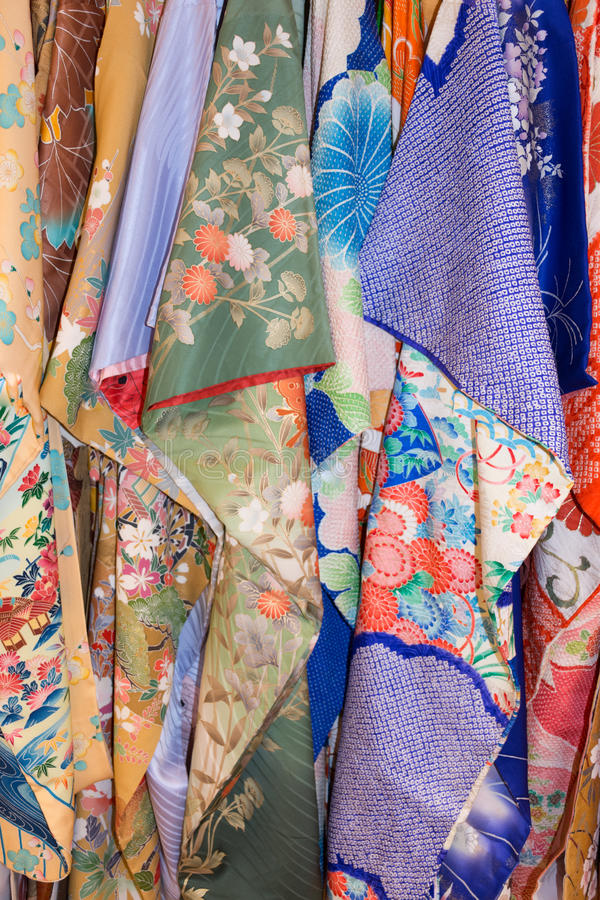 Vertical Rack of Kimonos stock images