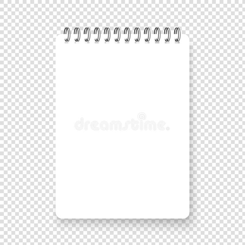 Vertical realistic spiral notepad. Blank notebook. Top view stock illustration