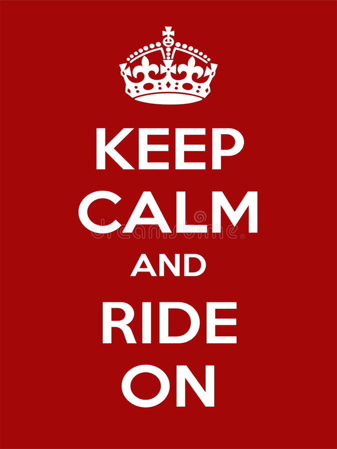 Vertical rectangular red-white motivation sport ride poster based in vintage retro style Keep and carry on. Keep calm and ride on. Vertical rectangular red and stock illustration