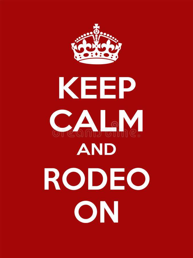 Vertical rectangular red-white motivation sport rodeo poster based in vintage retro style Keep and carry on. Keep calm and rodeo on. Vertical rectangular red and vector illustration