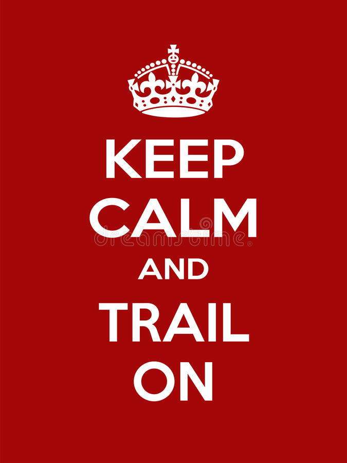 Vertical rectangular red-white motivation sport trail poster based in vintage retro style Keep and carry on. Keep calm and trail on. Vertical rectangular red and vector illustration