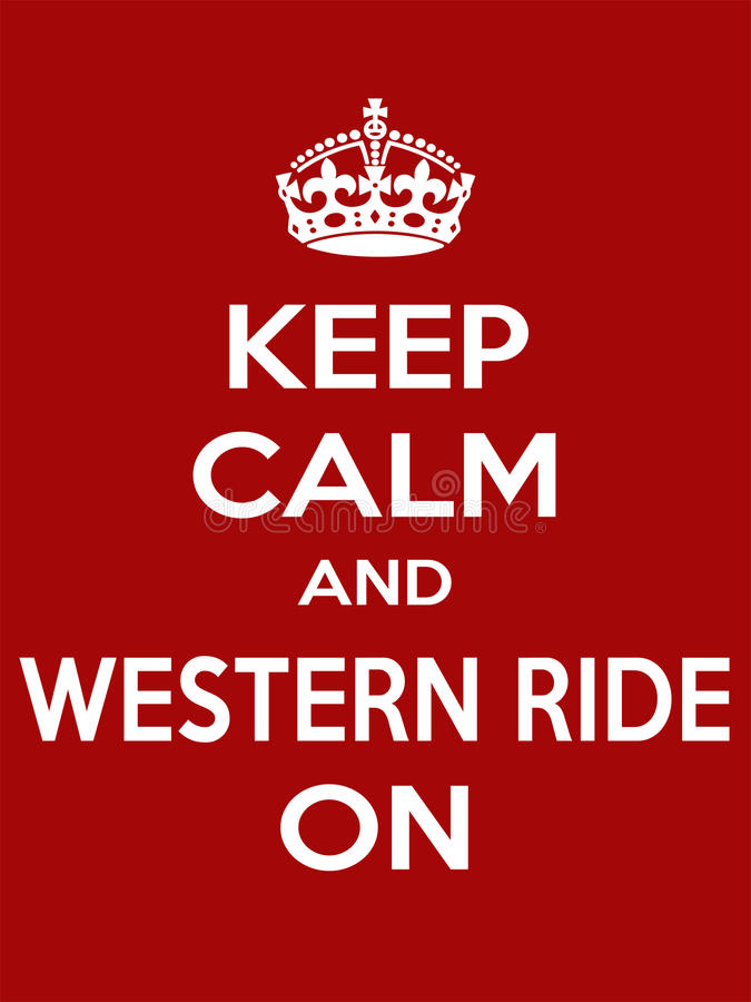 Vertical rectangular red-white motivation sport western ride poster based in vintage retro style Keep and carry on. Keep calm and western ride on. Vertical vector illustration