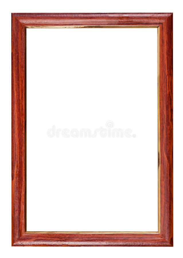 Vertical red brown wooden picture frame stock images