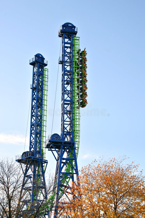 Vertical roller coaster royalty free stock photo