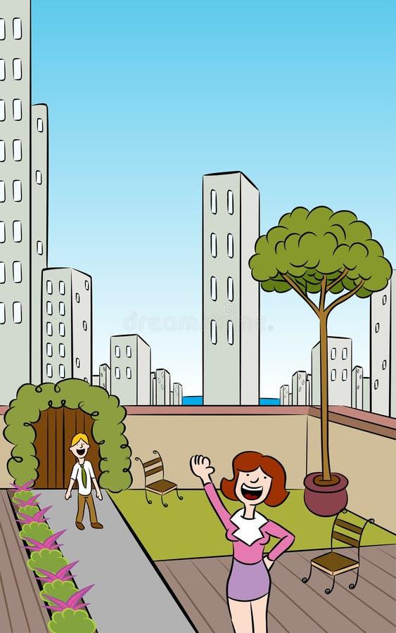 Vertical Rooftop City Garden stock illustration