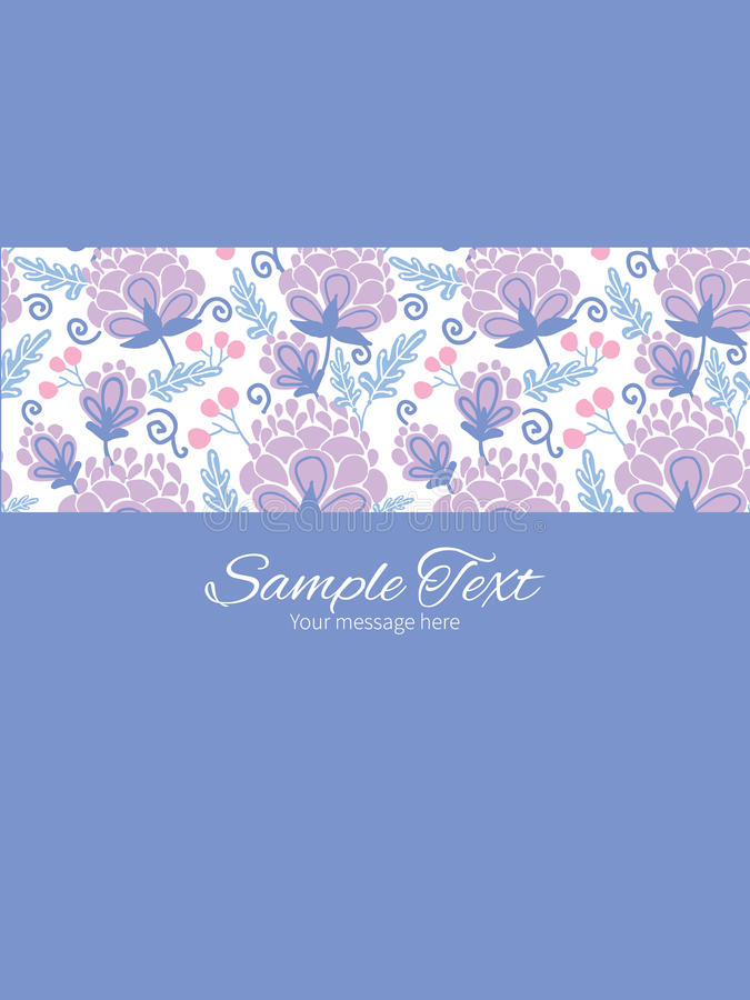 Vertical roxo macio do quadro da listra das flores do vetor ilustração stock