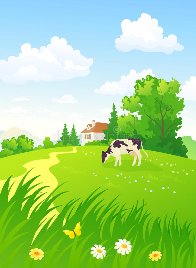 Vertical rural scene royalty free illustration