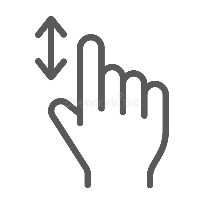 Vertical scroll line icon, finger and gesture, hand sign, vector graphics, a linear pattern on a white background. Vertical scroll line icon, finger and gesture royalty free illustration