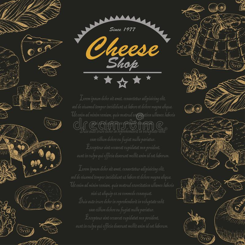Vertical seamless background with cheese products. Vertical background with cheese products. Vector illustration for your design stock illustration