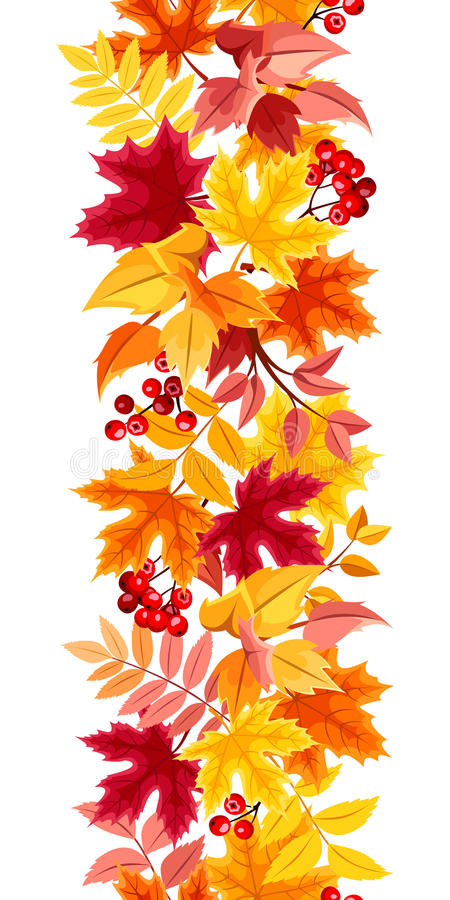 Vertical seamless background with colorful autumn leaves. Vector illustration. stock illustration