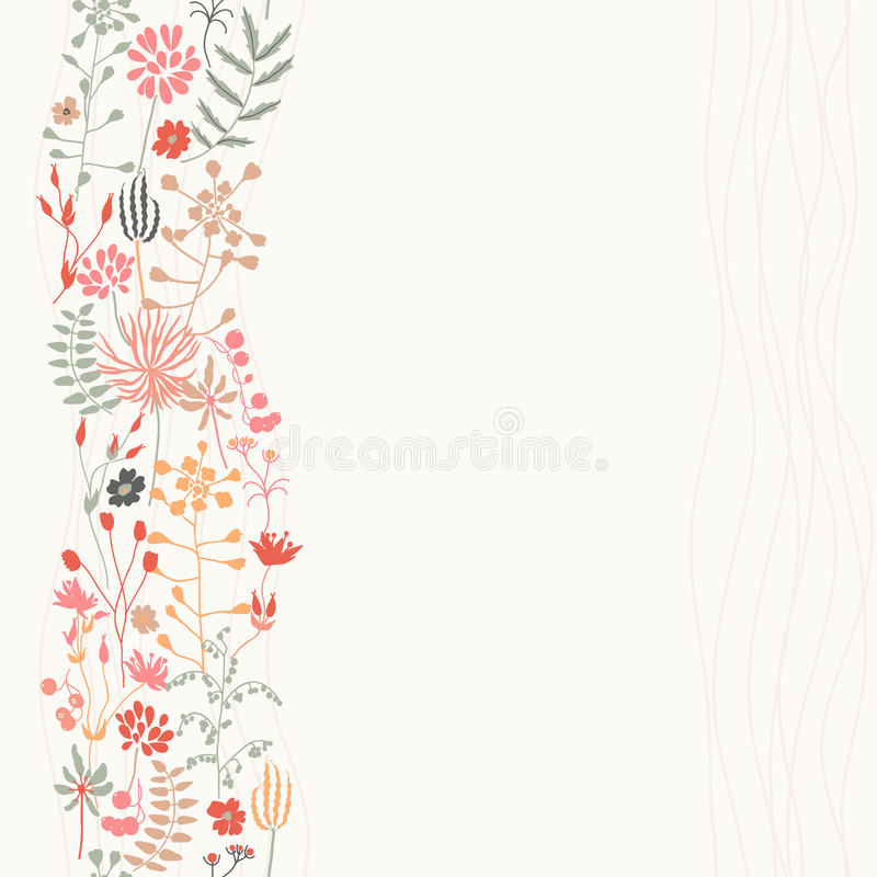 Vertical seamless floral background. Bright floral background. Vertical seamless pattern. In pale colors vector illustration