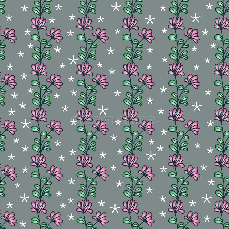 Vertical seamless floral pattern. Bright abstract pink flowers with green leaves, white snowflake stars, gray background royalty free illustration