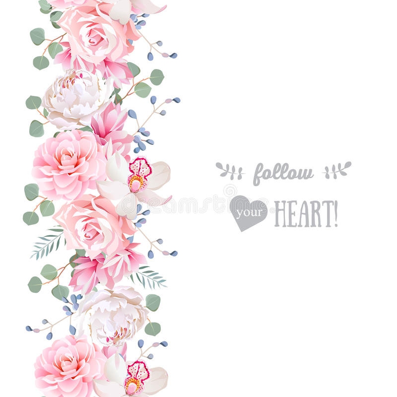 Vertical seamless line garland with camellia, rose, peony, eucaliptus leaves and orchid stock illustration