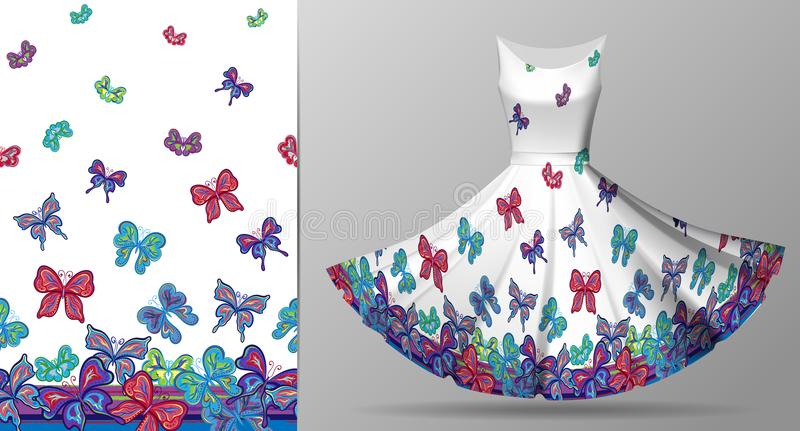 Vertical seamless pattern with hand draw butterfly on dress mockup. Vector. Bright blue, red, violet on white royalty free illustration