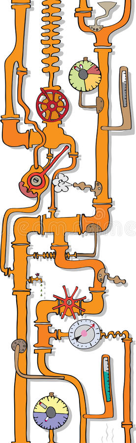 Pipeline. Vertical seamless pattern. Pipeline with the instruments of control and distribution of the liquid royalty free illustration