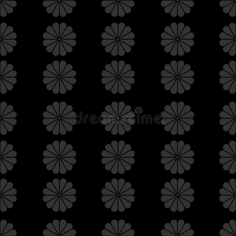 Vertical Seamless Pattern of Stylized Geometric Flowers on Black Background royalty free illustration