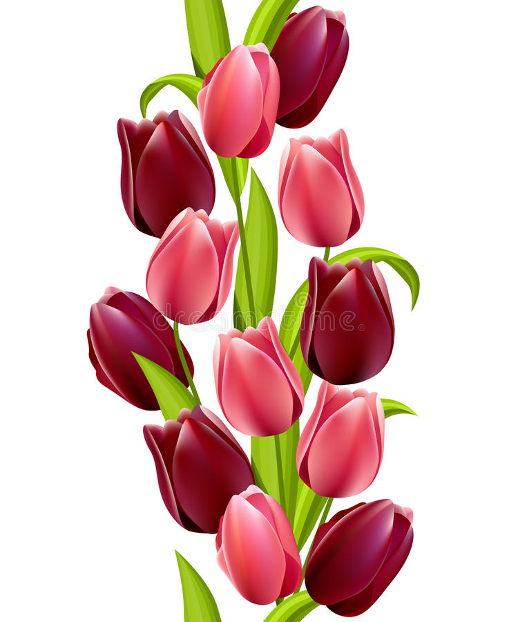 Vertical seamless pattern with tulips