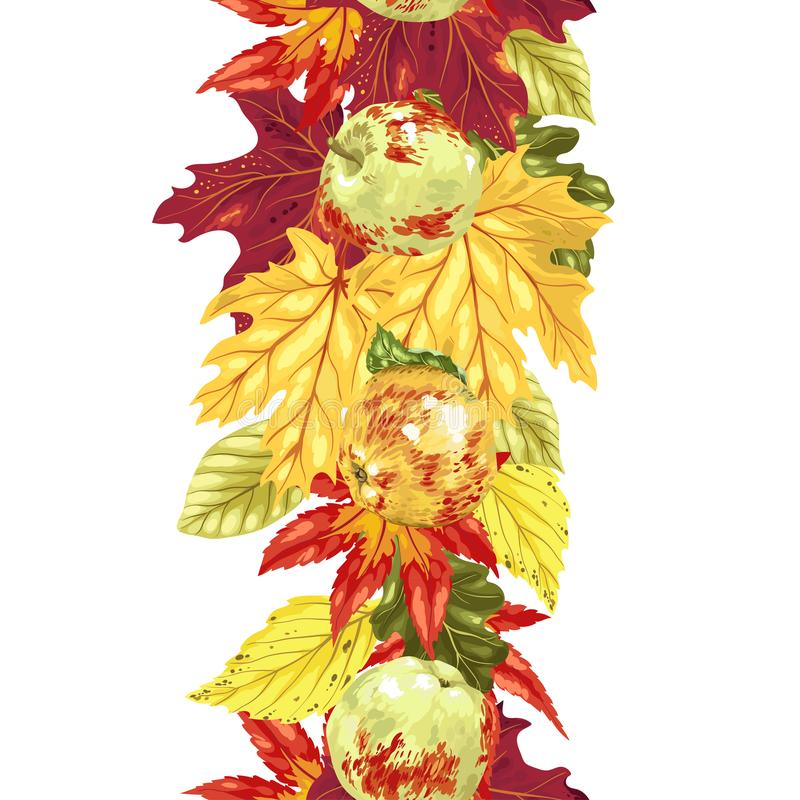 Vertical seamless vector line with autumn leaves and apples stock illustration