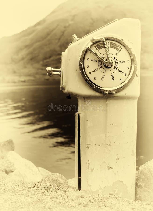 Vertical sepia vintage ship engine control background backdrop royalty free stock image