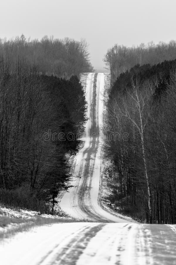 Vertical Shady Lane Ave. Black and white vertical photo of a steep road Shady Lane Ave stock photo