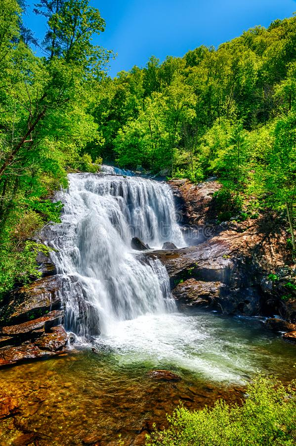 Bald River Falls in Tennessee Smoky Mountains. Vertical shot of the Bald River Falls in the Tennessee Smoky Mountains royalty free stock image