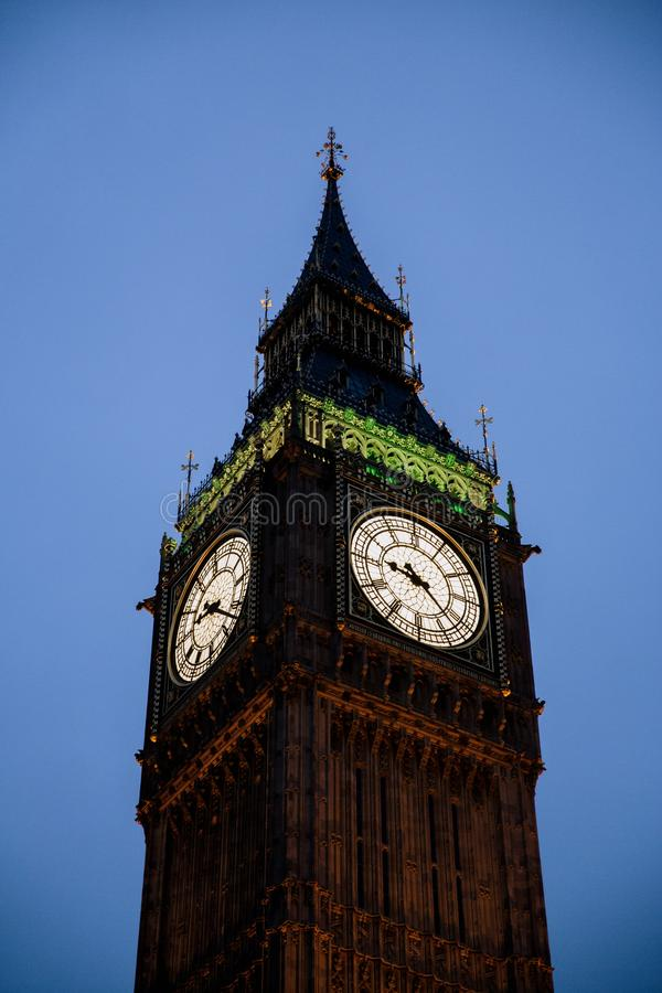 Vertical shot of the Big Ben clock tower in London, England under a clear sky. A vertical shot of the Big Ben clock tower in London, England under a clear sky stock photo
