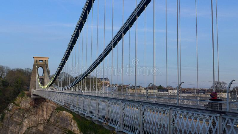 Vertical shot of Brunel suspension bridge in Bristol, the United Kingdom in the evening. A vertical shot of Brunel suspension bridge in Bristol, the United royalty free stock photo