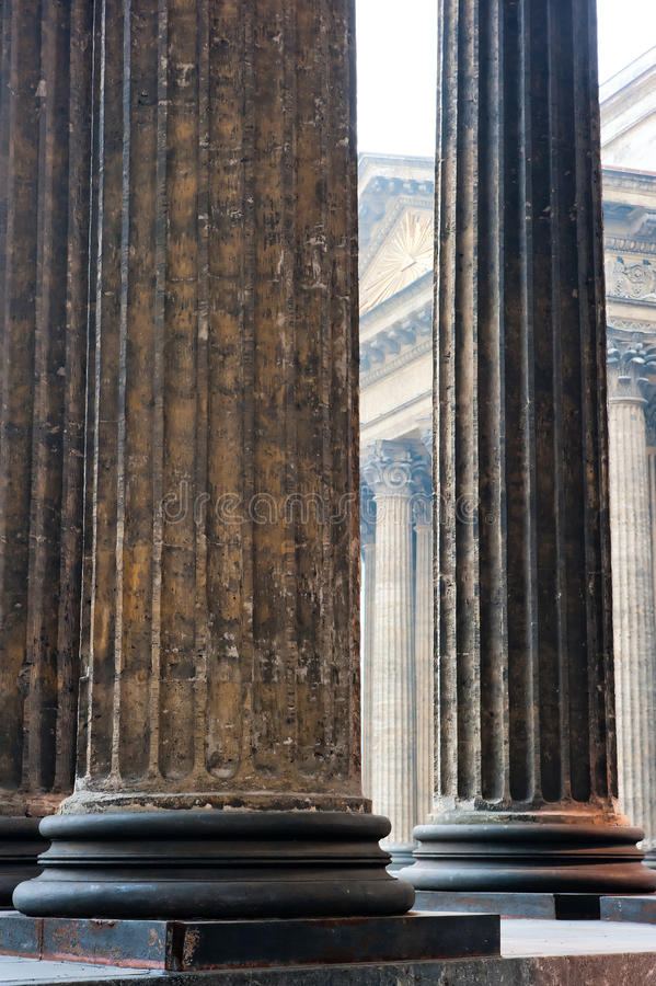 Vertical shot colonnade of Kazan Cathedral. Vertical shot colonnade of the Kazan Cathedral stock photography