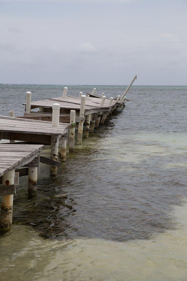 Vertical Shot of a Destroyed Pier in Belize stock images