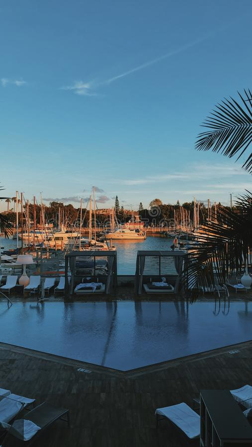 Vertical shot of the dock in Marina del Rey, United States. A vertical shot of the dock in Marina del Rey, United States royalty free stock photography