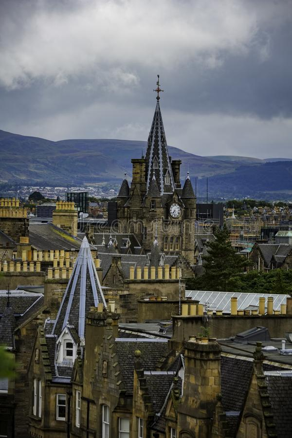 Vertical Shot of Edinburgh Rooftops royalty free stock images