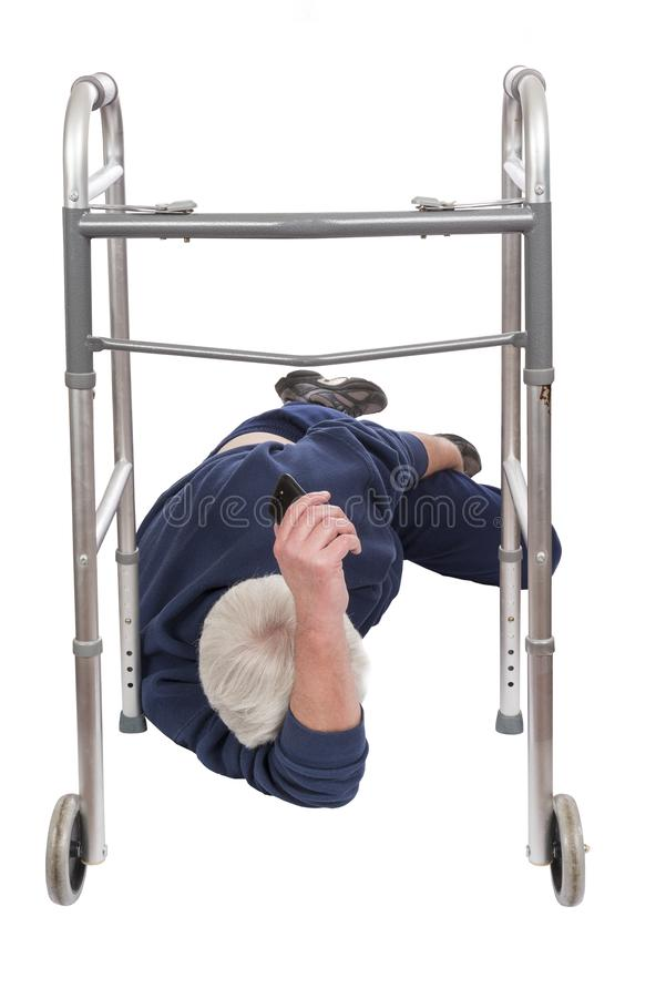 Elderly Man Fallen Down With Walker Isolated On White royalty free stock image