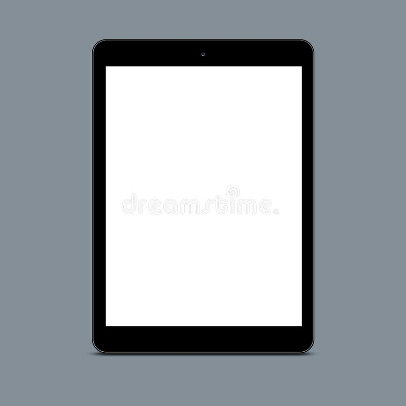 Vertical shot of empty screen touchpad against grey background for your promotional content or advertisement. Blank tablet stock photo