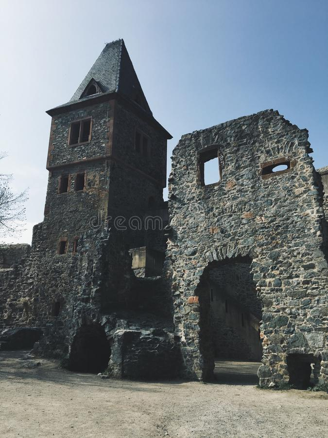 Vertical shot of the Frankenstein castle on a sunny day stock images
