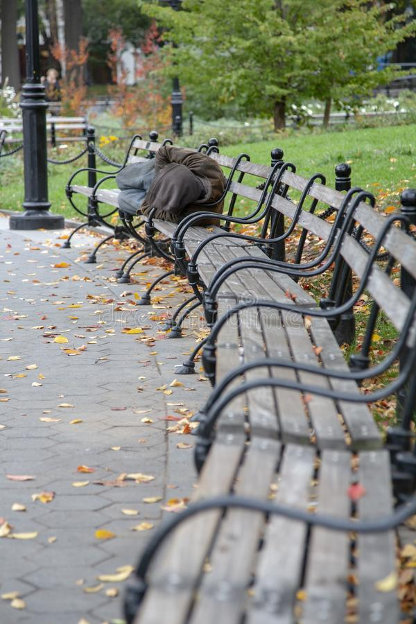 Homeless Person In Park Stock Image Image Of Town
