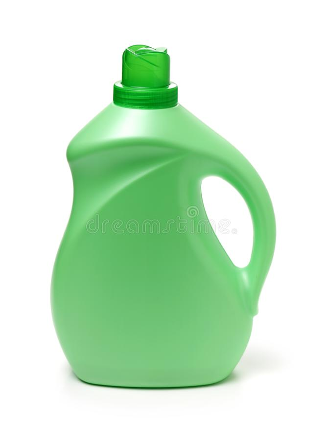 Vertical shot of a large green laundry detergent bottle. Isolated on a white background royalty free stock photo