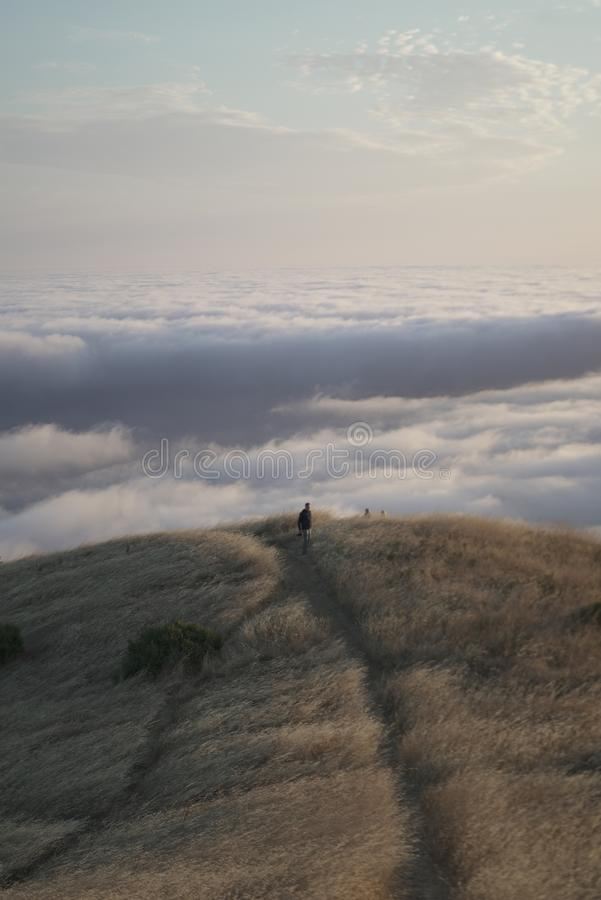 Vertical shot of a male walking distance  with a visible skyline on  Mt. Tam in Marin, CA royalty free stock image